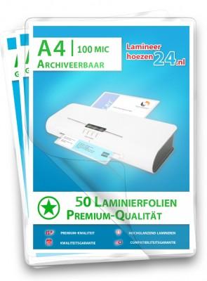 50 aarchiveerbare Lamineerhoezen A4, 2 x 100 Mic, glanzend