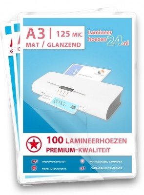 Lamineerhoezen A3, 2 x 80 Mic, mat / glanzend