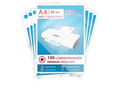 Megapakket 1000 hoezen - A4, 2 x 80 mic, mat / glanzend