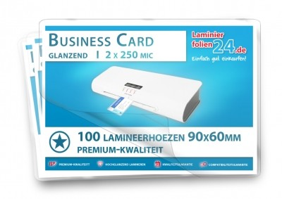 Lamineerhoezen Business Card (60 x 90 mm), 2 x 250 mic