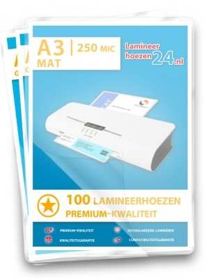 Lamineerhoezen A3, 2 x 250 Mic, mat