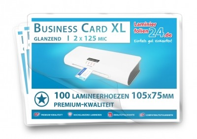 Lamineerhoezen visitekaartje BigSize (75 x 105 mm), 2 x 125 mic