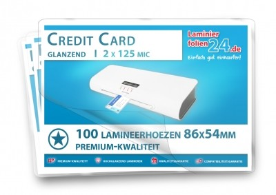 Lamineerhoezen Credit Card (54 x 86 mm), 2 x 125 mic