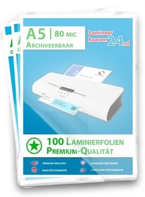 archiveerbare Lamineerhoezen A5, 2 x 80 Mic, mat