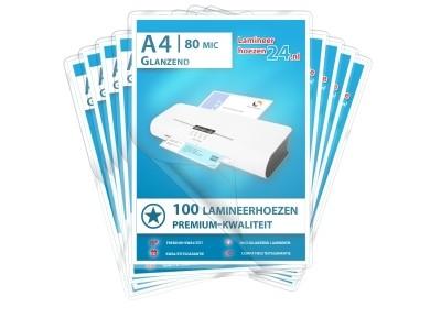 Megapakket 2.000 hoezen DIN A4, 2 x 80 mic glanzend