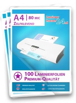 zelfklevende Lamineerhoezen A4, 2 x 80 Mic, glanzend