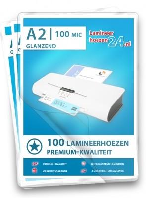Lamineerhoezen A2, 2 x 100 Mic, glanzend