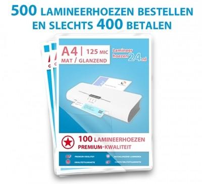 """""""5 halen, 4 betalen"""" - Pakket - A4 - 125 Mic, mat / glanzend"""