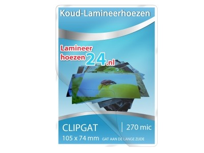 Koud-Lamineerhoezen met clipgap aan de lange zijde (105 x 74 mm)