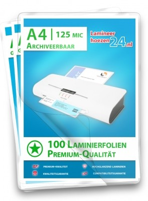archiveerbare Lamineerhoezen A4, 2 x 125 Mic, glanzend