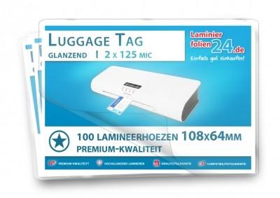 Lamineerhoezen Luggage Tag (64 x 108 mm), 2 x 125 mic