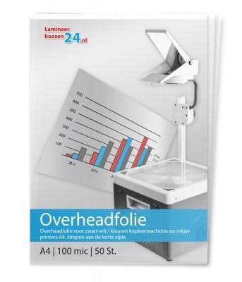 Overheadfolie voor zwart-wit / kleuren kopieermachines en inkjetprinters A4 (210 x 297), 100 mic