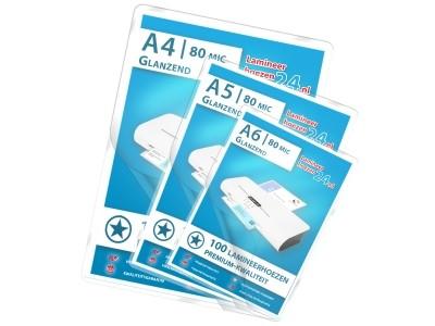 Basis-Pakket - A4, A5, A6 - 80 Mic, glanzend