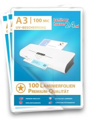 Lamineerhoezen met UV-bescherming A3, 2 x 100 Mic, glanzend