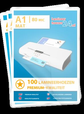 Lamineerhoezen A1, 2 x 80 Mic, mat