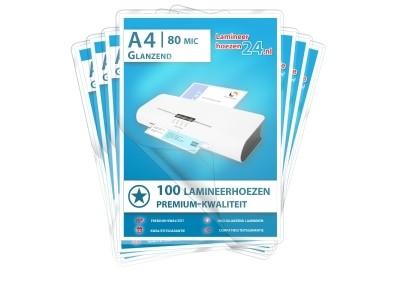 Megapakket 1.000 hoezen DIN A4, 2 x 80 mic glanzend