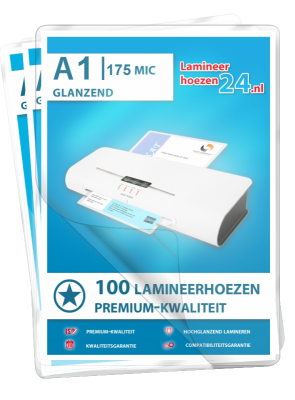 Lamineerhoezen A1, 2 x 175 Mic, glanzend