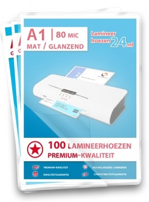 Lamineerhoezen A1, 2 x 80 Mic, mat / glanzend